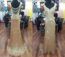 Gold sequins Long Prom Dresses Formal Wedding  Ball Evening Party dress custom
