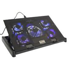 "10-17"" Laptop 5 Fans USB Blue LED Cooler Cooling Adjustable Stand Pad Black"