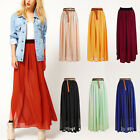 HOT Womens Lady Double Layer Chiffon Pleated Long Elastic Waist Maxi Skirt -L4