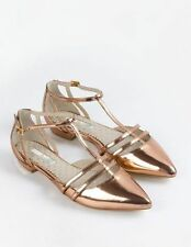 Boden T Bar Flat Shoes UK Size 8 – EU 42 – Gold Leather