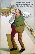 Bowling Man in Old-Fashioned Alley 1913 Color Litho Postcard
