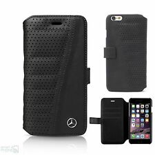 "Mercedes Echtleder perforiert iPhone 6,6s 4,7"" Book Case Cover Hülle Handytasche"