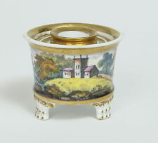 Antique English Porcelain Hand Painted Inkwell Quill Stand with Rural Scene