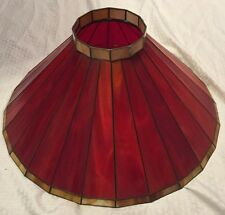 Vintage Stained Glass Wrought Iron Applebee's Red Lamp Shade #2