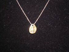 Very dainty hippie reversible peace sign charm necklace pendant chain 18""