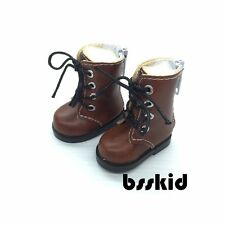 "Y01 BJD Yo-SD 1/6 Dollfie 13"" Effner 12"" Kish Doll Shoes Boot Dark Brown Zip"