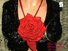 Artisan ARTURO E.REYNA~ RED ROSE~Genuine Italian Leather SIGNED BIB/NECKLACE