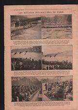 WWI Paris Régates Rameurs Pont d'Iéna General Pershing France 1919 ILLUSTRATION