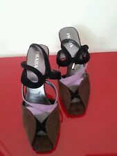 PRADA SANDALS STRAPPED ANKLE MID HEEL LADIES BROWN/MIX SUEDE UK 6.5 100% GENUINE