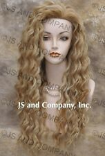 "Human Hair Blend Long Wavy Strawberry blonde Mix  22"" Wig Heat Safe 27/613 sca"