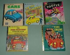 Little Golden Books - Tootle, Fire Engine, Cars LOT of 5