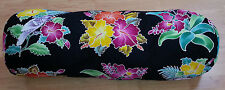 New Handpainted Batik Tropical Flowers Hibiscus Cotton Bolster Pillow Cover Bali