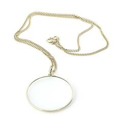 Kikkerland 3 X Magnifier Tool Magnifying Glass Pendent Necklace Chain Xmas Gift