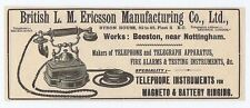 British LM Ericsson Manufacturing Co Ltd Telephones - Antique Advert 1904