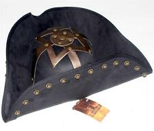 PIRATES OF CARIBBEAN Captain Blackbeard BUCCANEER Suede Black TRICORN HAT S/M
