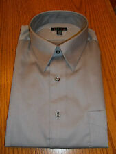 George Sateen Mens Button Down Dress Shirt Silver ~ Large 16-16 1/2 NEW