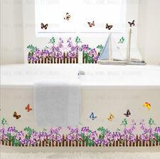 X groß 2,2 M Lila Blüte Zaun Schmetterlinge Wandaufkleber Kunst Sticker
