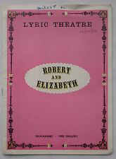 ROBERT AND ELIZABETH.RONALD MILLER.LYRIC PROGRAMME 1964.DONALD WOLFIT.JANE FIFFE