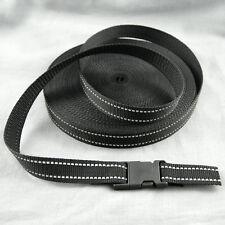 3 m Meterware Gurtband Taschengurt Breite 25 mm schwarz mit reflektor 1,4mm dick