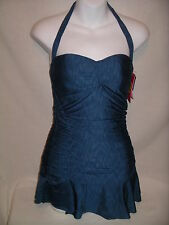 BETSEY JOHNSON Shirr Delight Dk Blue One Pc Rusched Swimsuit - S - NWT $148