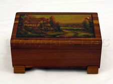 Decorative Cedar Box w/ Lacquered Farm House Picture Design