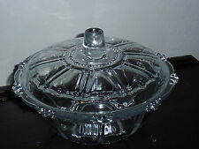 Vintage Kig Indonesia Crystal Clear Glass Covered Candy Dish Bowl