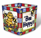 Bee Happy Tea Light Candle Holder Votive Hand Painted Glass AMIA Hive Red Blue