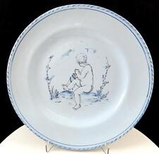 "ART POTTERY LINE DRAWN NUDE CHILD SITTING ON A HILL PALE BLUE 8 3/4"" PLATE"
