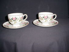 2 Wedgwood HATHAWAY ROSE Footed Cups and Saucers MINT!!