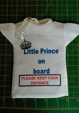 Novelty car hanging t-shirt ideal for new parents baby on board sign
