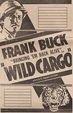 1934 Wild Cargo Frank Buck Bringing Em Back Alive Original Lobby Poster Sampler