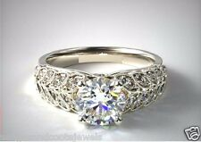 2.03CT ROUND CUT PAVE SET LEAVES SHAPE ENGAGEMENT RING IN 14KT SOLID WHITE GOLD