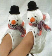 Divertidos Muñecos De Nieve Novedad Navidad Zapatillas patrón de ganchillo