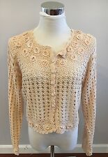 April Cornell Open Knit Crochet Creme Beige Cardigan Sweater Size S