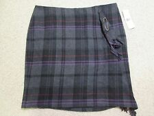 RALPH LAUREN Polo Skirt 100% Wool Plaid Gray & Black Kilt Wrap Sz 14 $198+ NEW