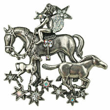 Kirks Folly Stardust Angel Horse Pin Pendant Necklace Silvertone w/Free Shipping