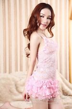 Woman Pink Lace Sheer Layer Mini Dress Lingerie Sleepwear + Thong Set S85