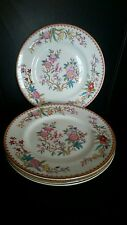 """Set of 4 - Royal Doulton Ito Smooth 8 7/8"""" Luncheon Plates Pink Green Floral Bir"""