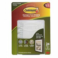 3M Command Large Picture Hanging Strips 24 Pairs/Sets 48 Strips holds 16 lb