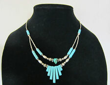 Vintage Faux Turquoise Howlite Silver Tone Necklace 18 inches