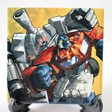Transformers Art - Ceramic Wall Tile / Coaster - G1 Optimus Prime vs Megatron