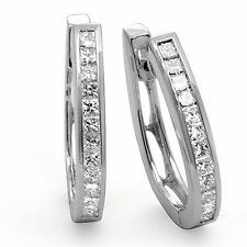 1.00CT Princess Cut Diamond F VS1 Natural Unisex Hoop Earrings 14k White Gold