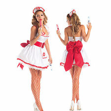 Fancy Dress Lace Cosplay Costumes Nurse Uniform Lingerie BallGown Outfit bowknot