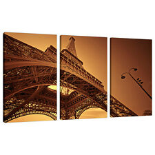 Set of 3 Brown Sepia Canvas Wall Art Pictures Paris Prints France 3013