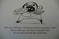 EDWARD LEAR nonsense Limerick -  Antique print 1891 - old man of the South
