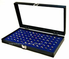 1 Wholesale Glass Top Lid Blue 72 Ring Display Portable Storage Boxes Case