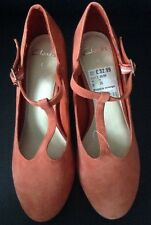 BNWT * Clarks * Bianca Naranja Gamuza T-Bar Shoes (Size UK 5) 38 euros