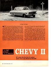 1962 CHEVY II WITH CORVETTE 327 ENGINE ~ ORIGINAL 6-PG ROAD TEST / ARTICLE / AD