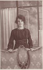 Antique RPPC: Pretty Young Lady - Fashion/Social History, Leaning On Chair