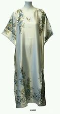 Ladies cream with peacock feather  Printed Satin Long Kaftan/dress. UK 10-32